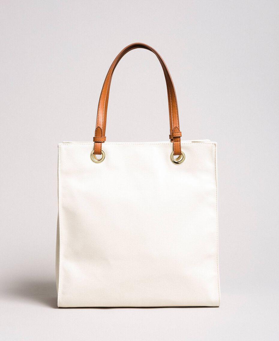 Mittelgroßer Shopper aus Canvas mit Logo Weiß Schnee Frau 191TA7610-03