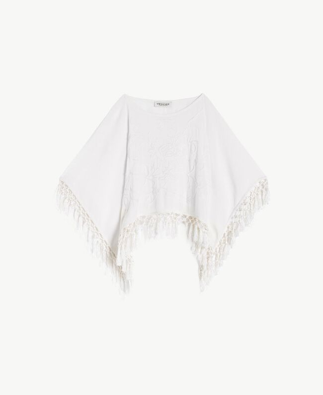 Fringed poncho Pale Cream Child GS82NB-01
