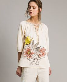 """Poplin blouse with print and studs """"Shell"""" Beige Woman 191MT2143-02"""