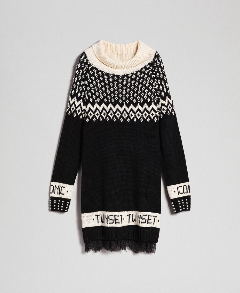 "Jacquard knit dress with logo and pearls Black / Dark ""Papyrus"" White Jacquard Woman 192TP332D-0S"