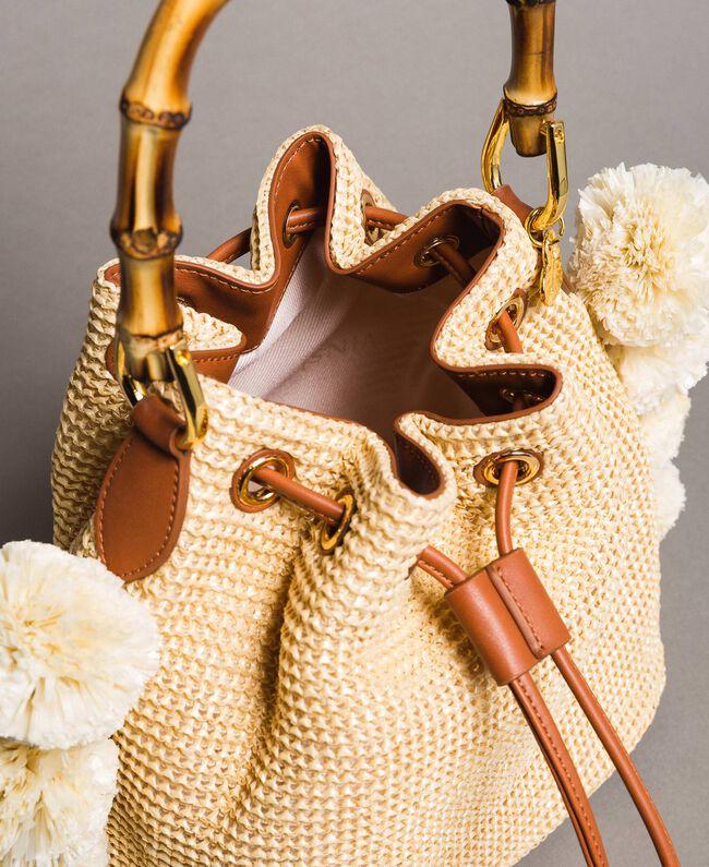 """Straw bucket bag with pompom """"Marzipan"""" Beige Woman 191TO8273-05"""