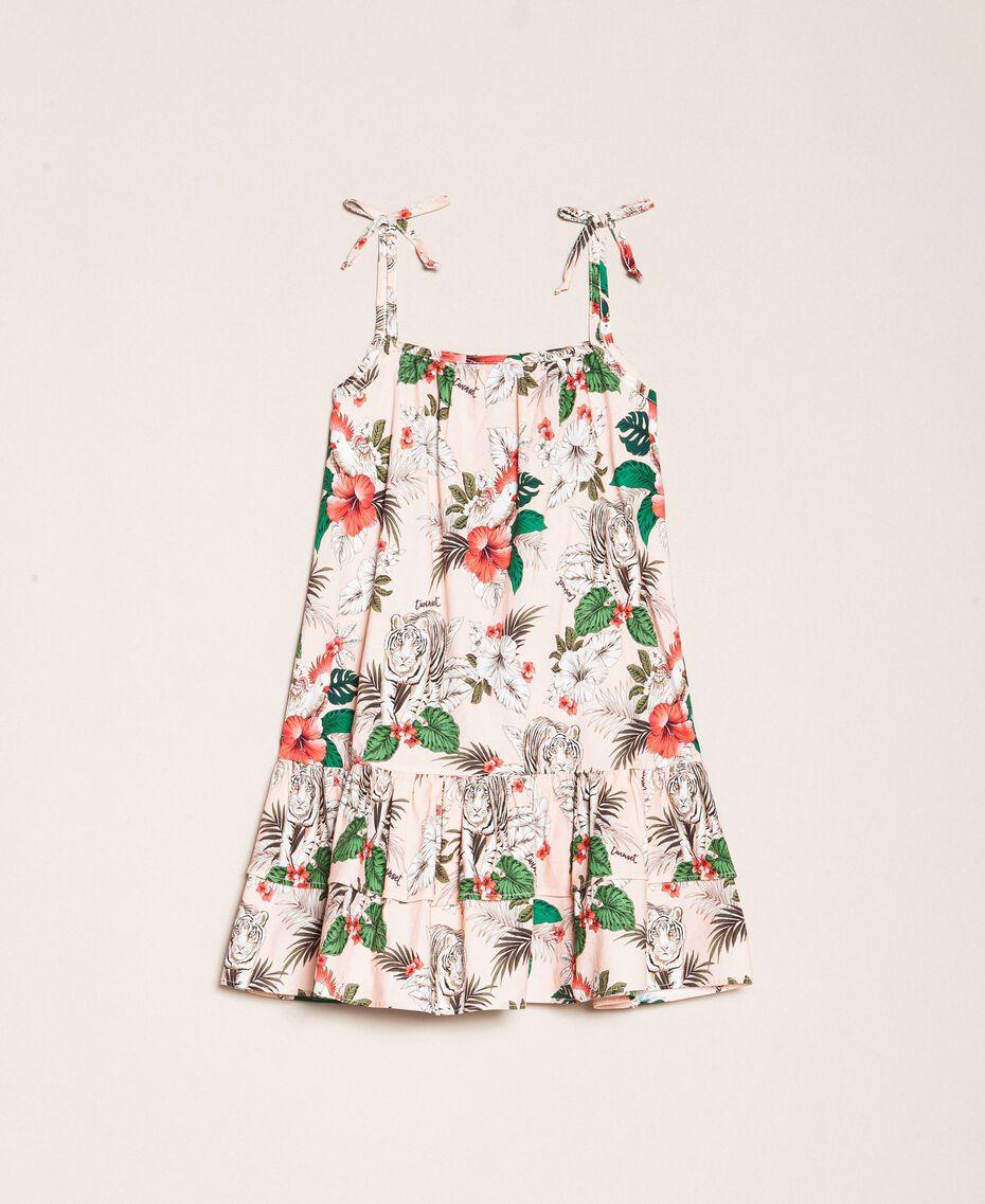 """Kleid aus Popeline mit Print Print """"Savannen""""-Rosa Kind 201GB2333-0S"""