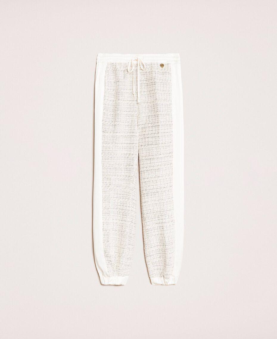 """Pantaloni jogging in tessuto bouclé Multicolor Avorio / Grigio """"Silver"""" Donna 201TP2231-0S"""