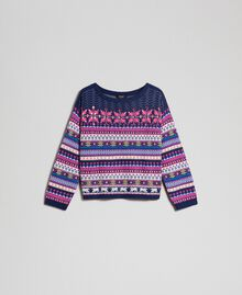 "Multicolour jacquard jumper with embroidery ""Pink Gloss"" Jacquard Woman 192MT3050-0S"