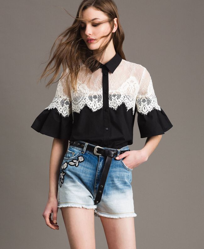 Dip-dye denim shorts with floral patch Bleached Shades Woman 191TT2052-01