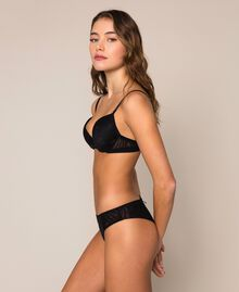 Tulle Brazilian briefs with hearts Black Woman 201LL6377-02