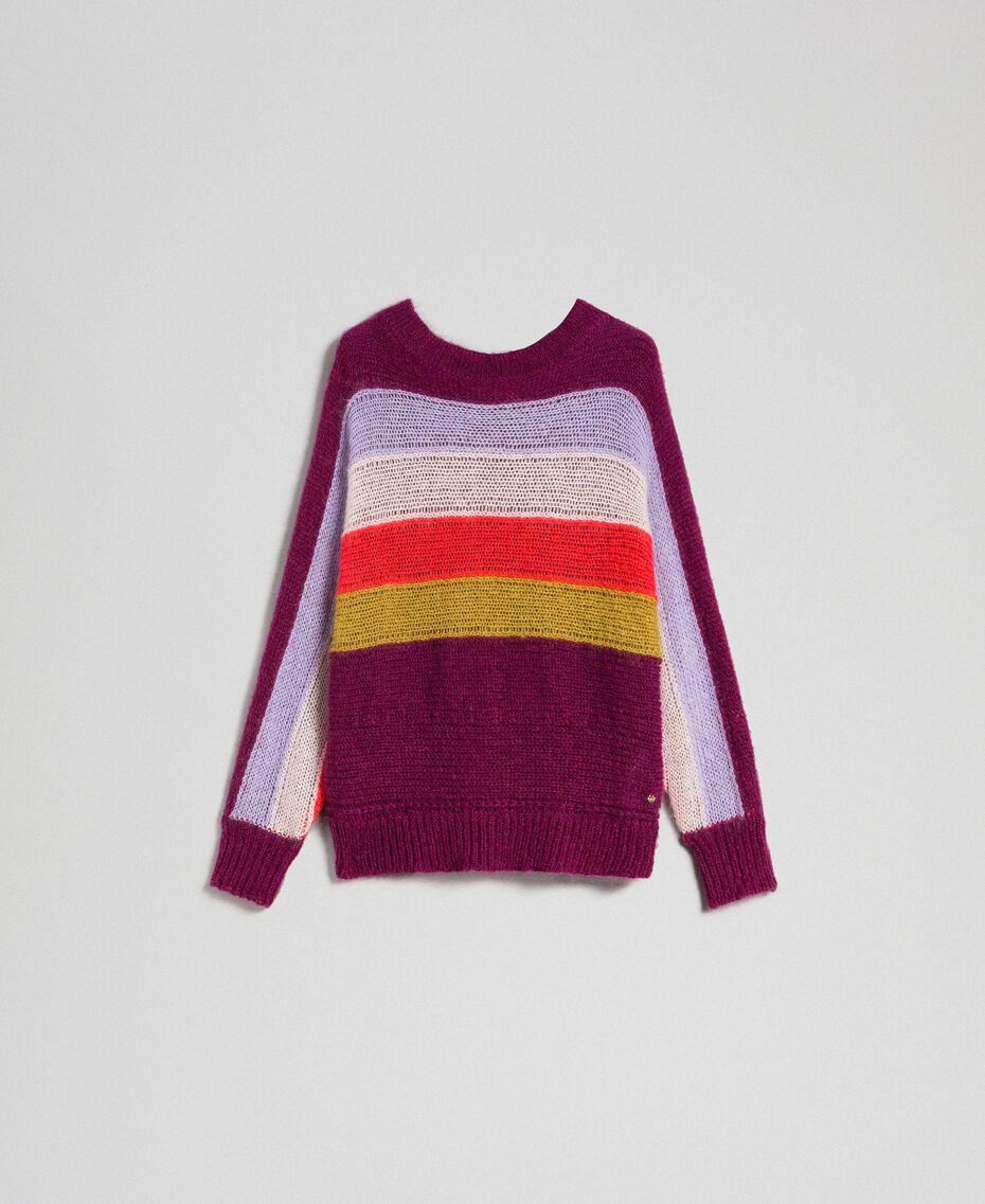 Mehrfarbig gestreifter Pullover aus Mohair Multicolorstreifen Samtrot Frau 192TT3272-0S