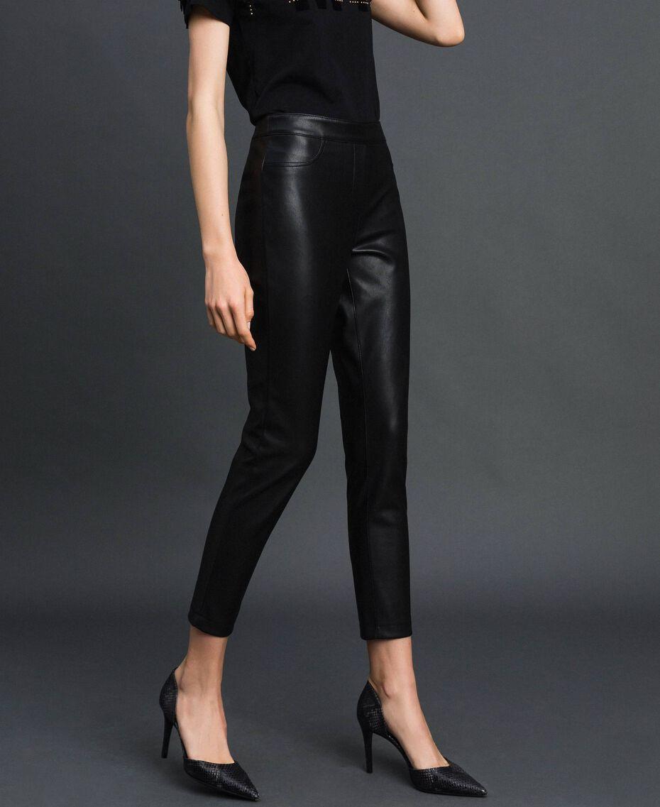 Faux leather leggings Black Woman 192MP2025-02