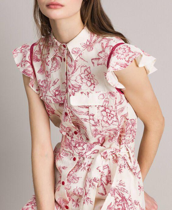 Hemd-Kleid aus Leinen mit Aufdruck