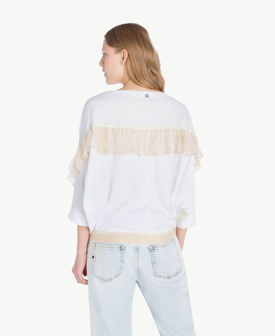 Maxi-T-Shirt mit Volants Weiß Frau PS82T2-03