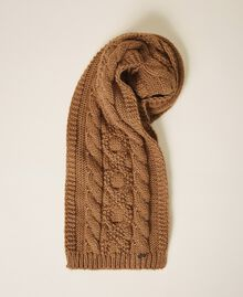 Knit scarf with logo Brown Sugar Woman 202ST4711-01