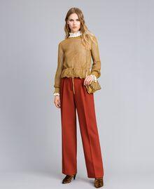 Pullover aus Lurex mit Netzmuster Gold Gelb Frau TA83EB-0T