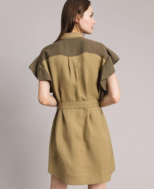 "Robe chemise en toile naturelle bicolore Bicolore Vert ""Olive"" / Bronze Antique Femme 191TT2440-04"
