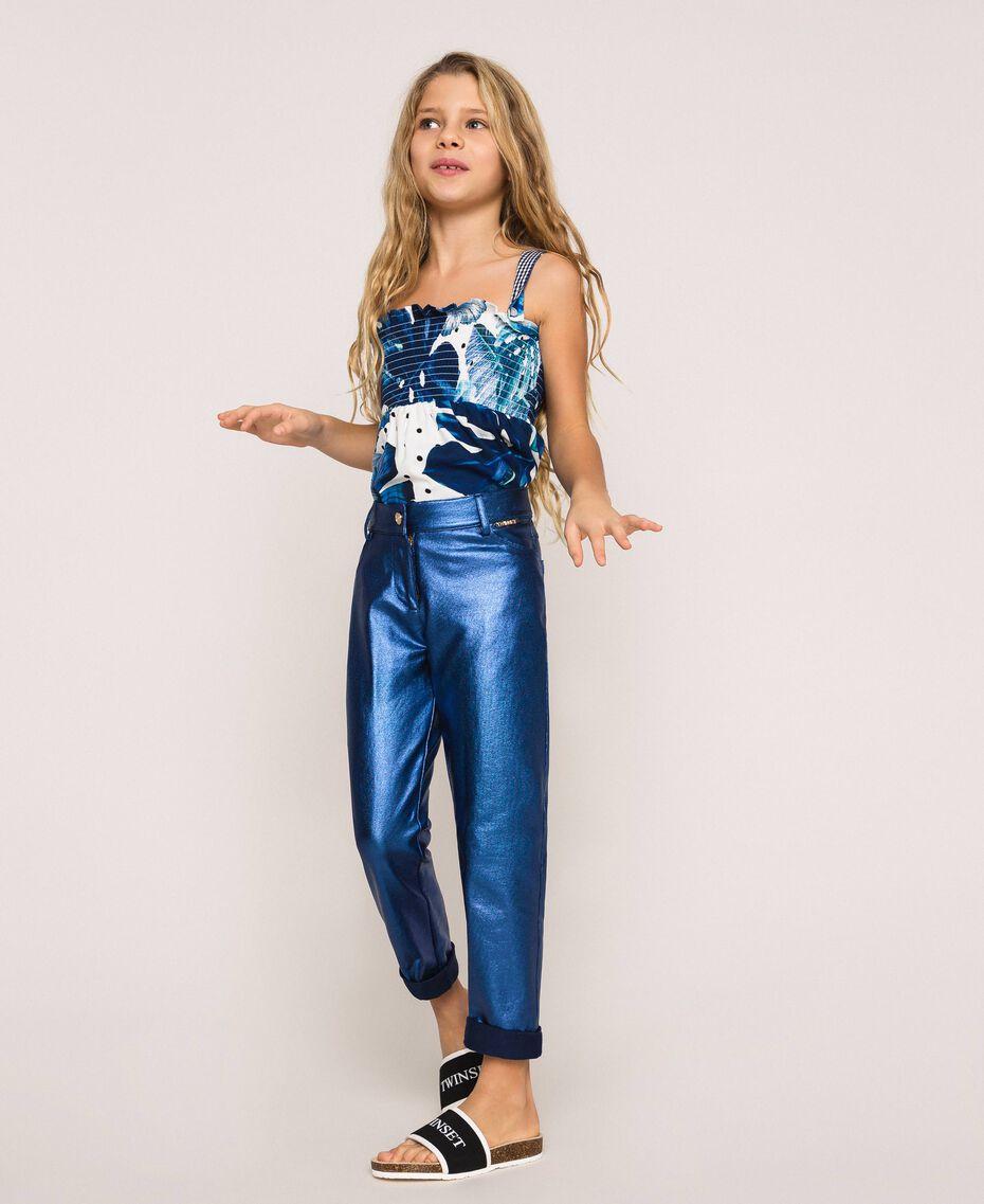 Hose mit schimmernder Beschichtung Irisierender Metallic-Print Nachtblau Kind 201GJ202H-01