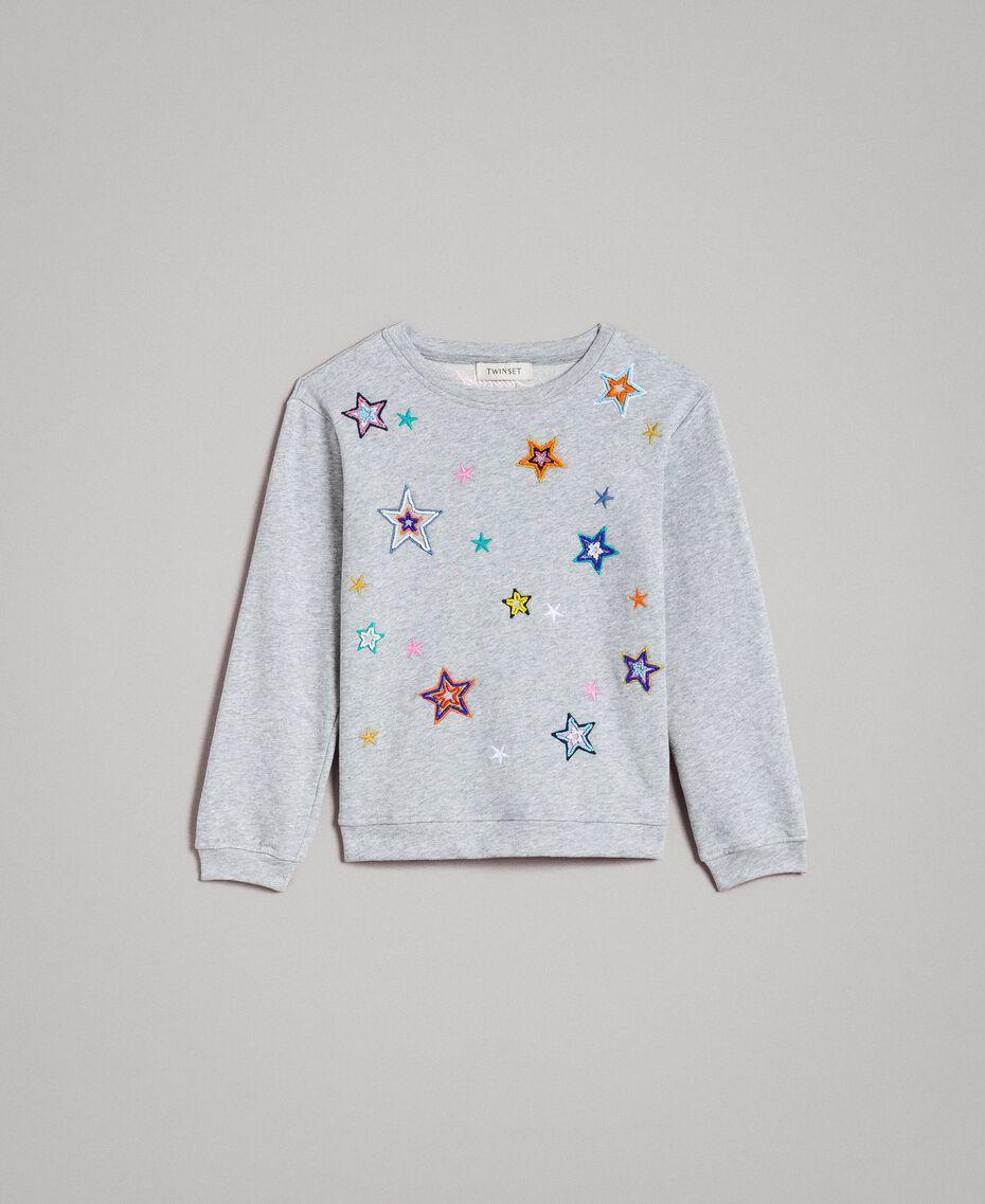 Sweat shirt en coton stretch avec broderies étoiles Gris clair chiné Enfant 191GJ2321-01