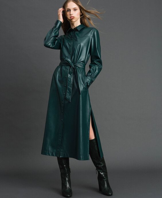Faux leather long shirt dress