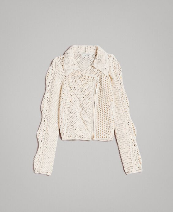 Crochet knitted biker jacket