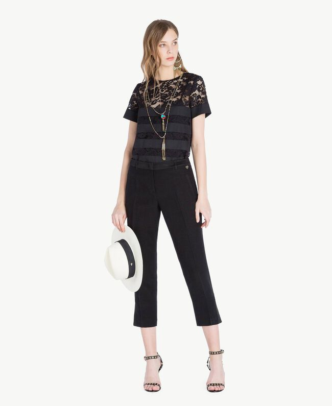 Pantalon envers satin Noir Femme TS823G-05