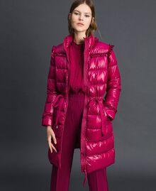 Doudoune longue matelassée en plumes véritables Rouge Betterave Femme 192TP2201-02
