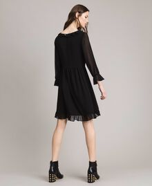 Georgette dress with frills Black Woman 191MP2391-03