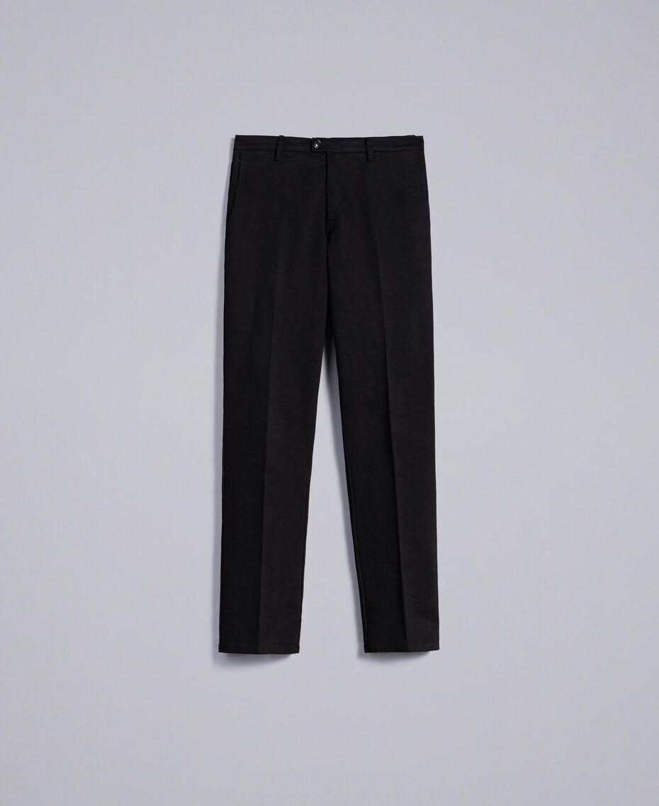 Pantalon en gabardine de coton Noir Homme UA82CN-0S