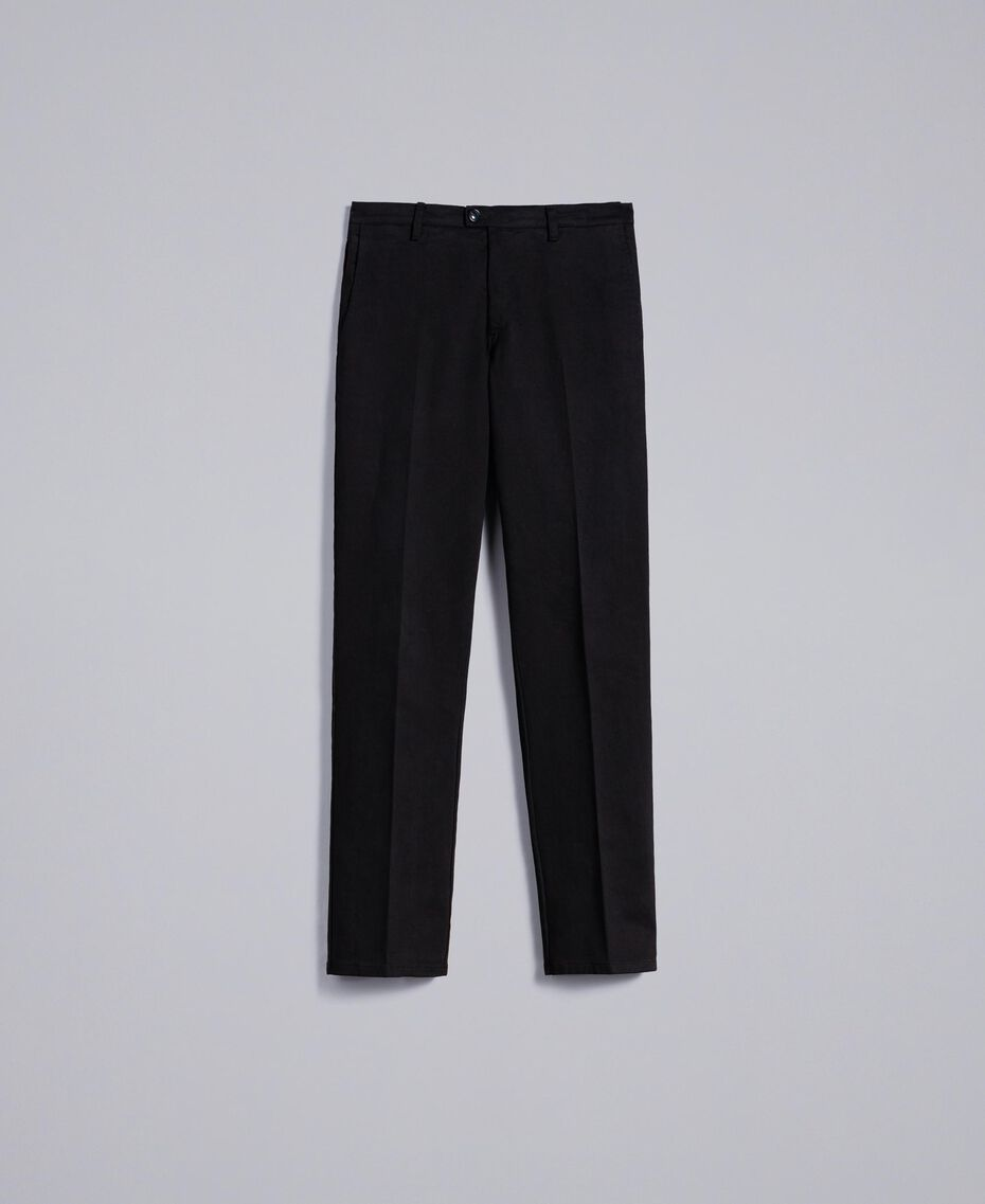 Gabardine cotton trousers Black Man UA82CN-0S