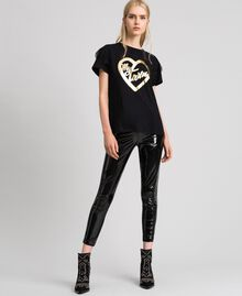 T-shirt with golden print and lace Black Woman 192MP2430-01