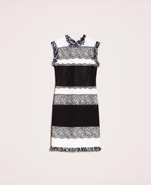 Robe fourreau bicolore avec dentelle Blanc / Noir Femme 201TQ2070-0S