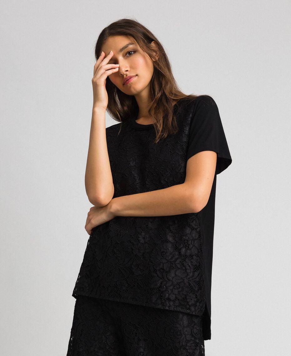 Macramé lace inlay blouse Black Woman 192MP2492-01
