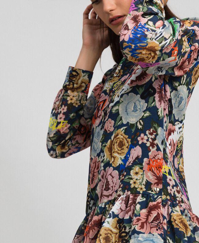 Robe avec imprimé floral et graffiti Imprimé Graffiti Fleur Bleu Femme 192MP222K-04