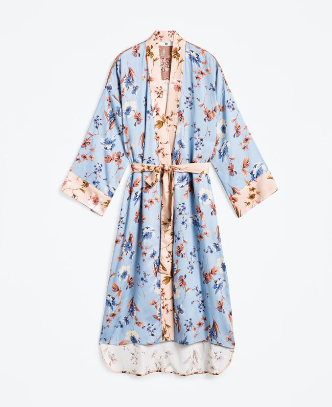 Robe de chambre longue imprimé floral Imprimé Rose Mélange Fleurs Femme IA8EVV-01