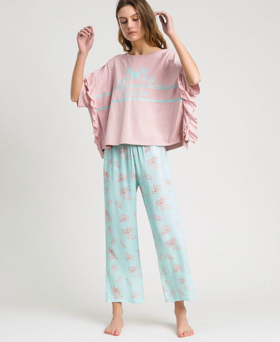 Pyjama long avec volants Imprimé Feuilles Bleu Mousse Femme 191LL2FBB-0S