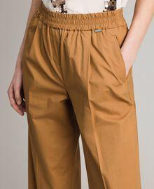 """Pantalon palazzo en popeline Beige """"Savane"""" Femme 191ST2042-02"""