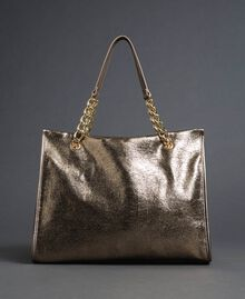 Reisetasche aus Lederimitat in Glitzeroptik Gold Gelb Frau 192LL7ZFF-03