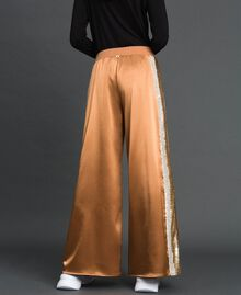 "Satin palazzo trousers with sequins ""Camel Skin"" Beige Woman 192LI2RBB-04"