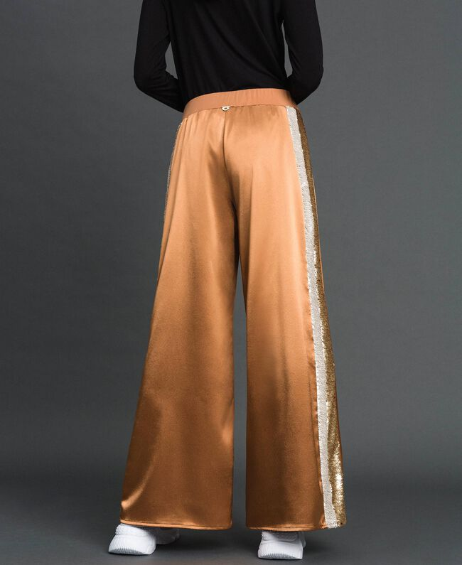 """Satin palazzo trousers with sequins """"Camel Skin"""" Beige Woman 192LI2RBB-04"""