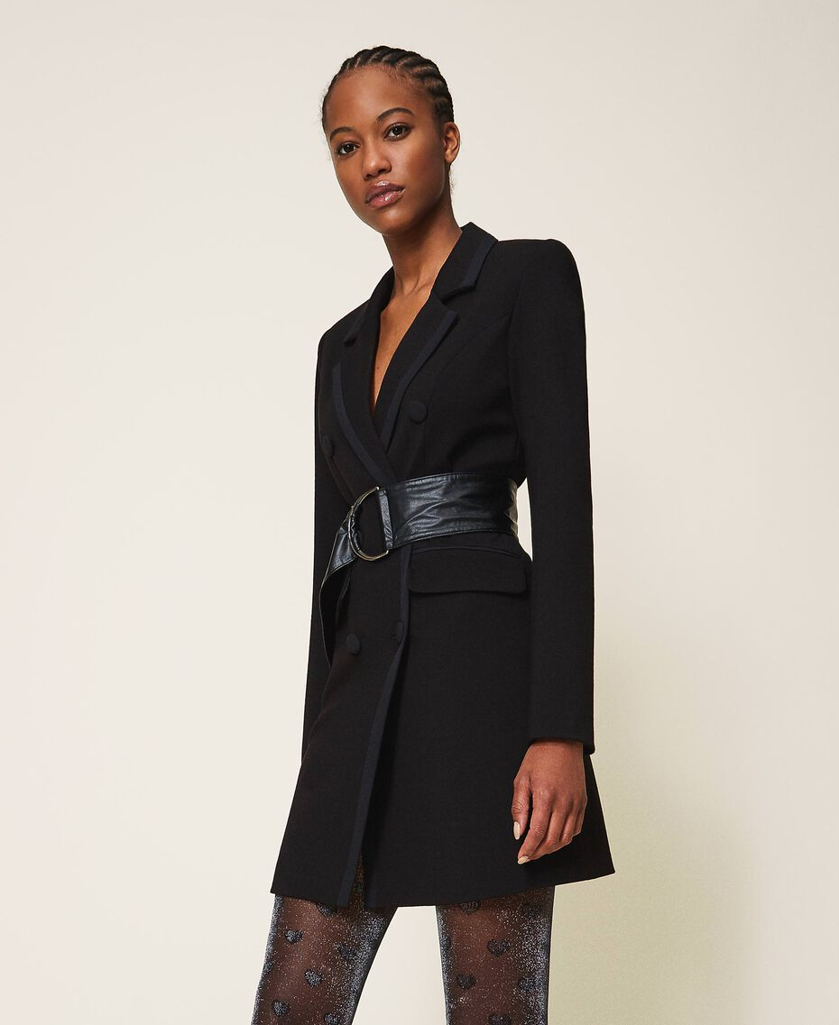 Длинный пиджак с деталями из крепдешина Черный женщина 202MP2291-02
