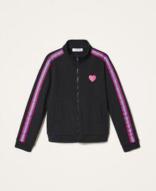 Sweatjacke mit mehrfarbigen Streifen Schwarz Kind 202GJ2710-0S