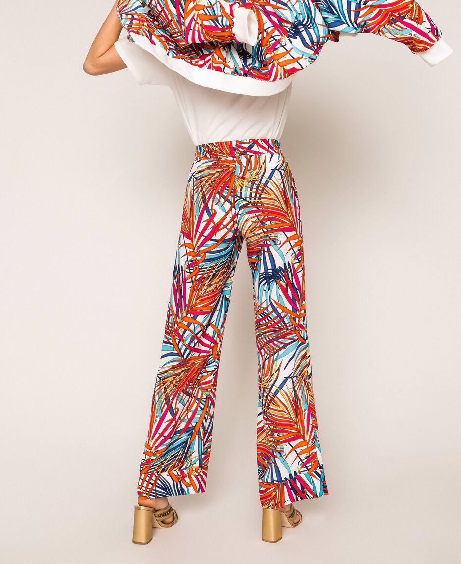 """Crêpe de Chine palazzo trousers """"Ice"""" White Ferns Print Woman 201MT2374-03"""
