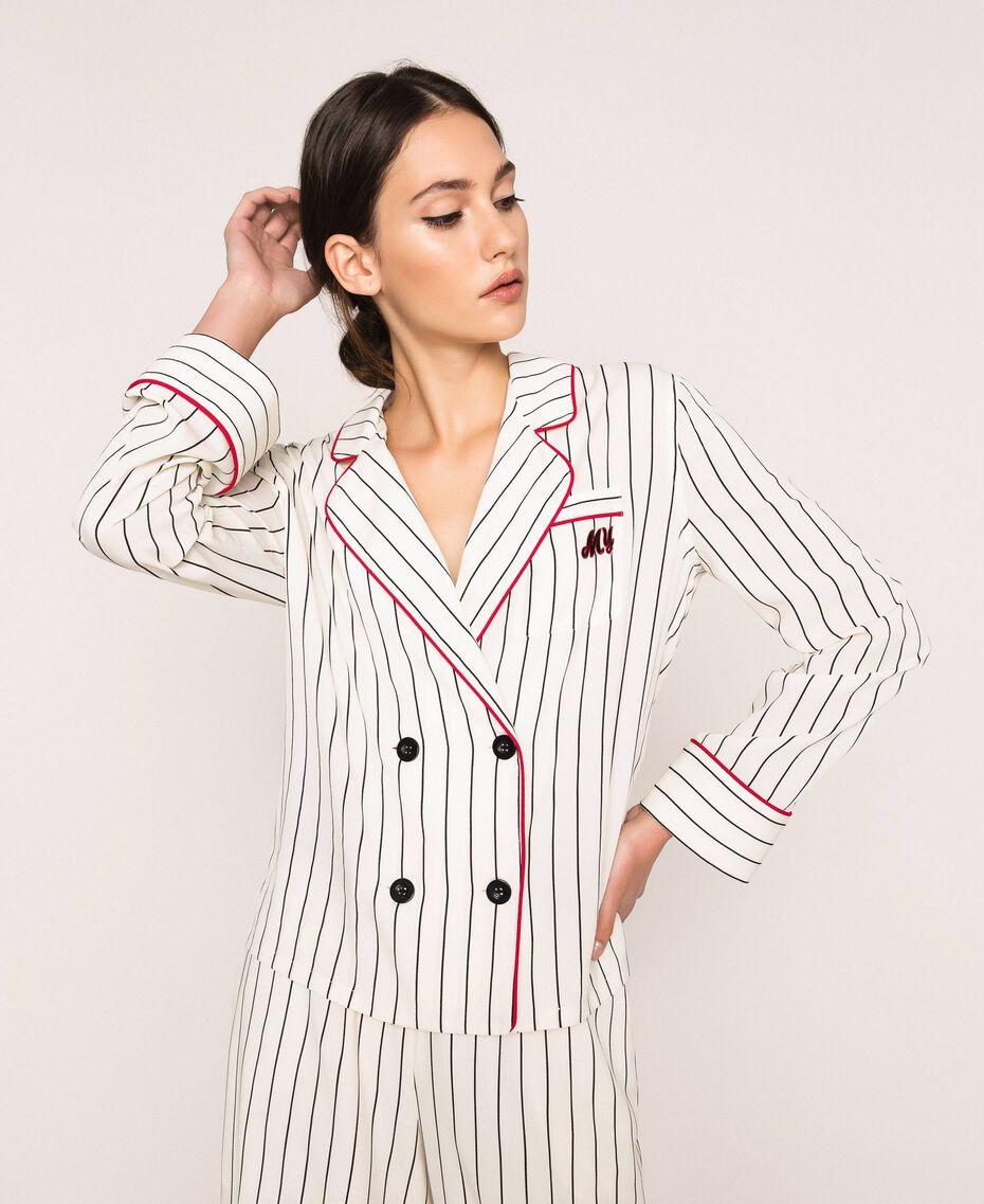 Striped crêpe de Chine shirt Vanilla / Black Stripes Woman 201MP2100-01