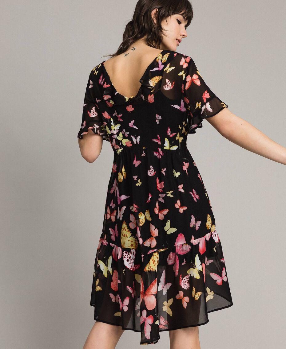 Robe en georgette à imprimé papillon Imprimé Papillon Noir Mixte Femme 191TT2394-02