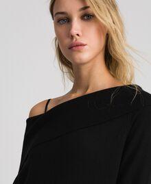 Robe en cachemire mélangé avec fonde robe en dentelle Noir Femme 192TT3091-04