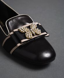 Leather loafers with embroidered band Black Woman 192TCP12G-02