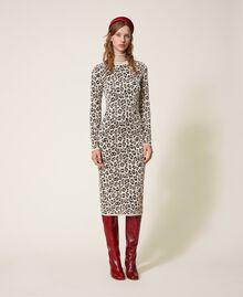Animal print jacquard sheath dress Animal Jacquard Woman 202TT3160-01