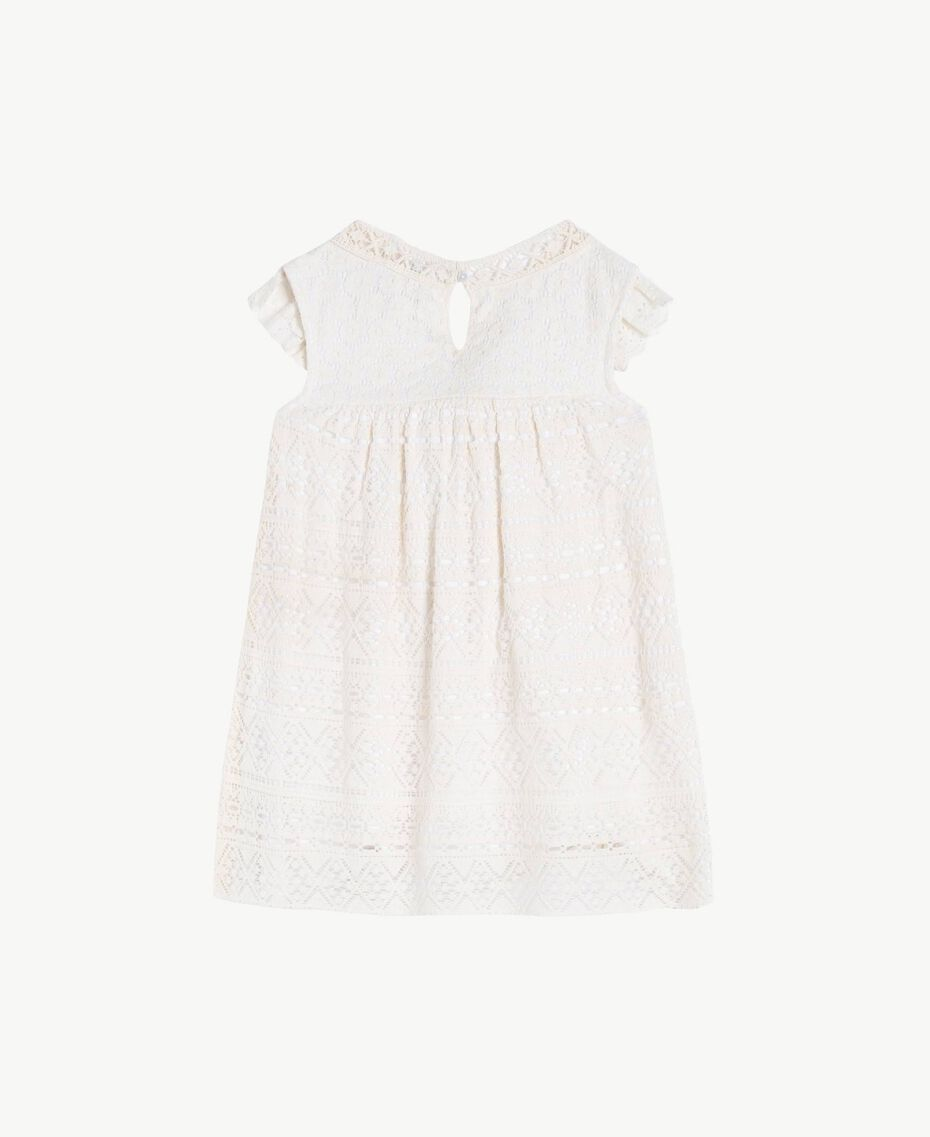 "Lace dress Two-tone ""Papyrus"" White / Chantilly Child FS82X2-02"