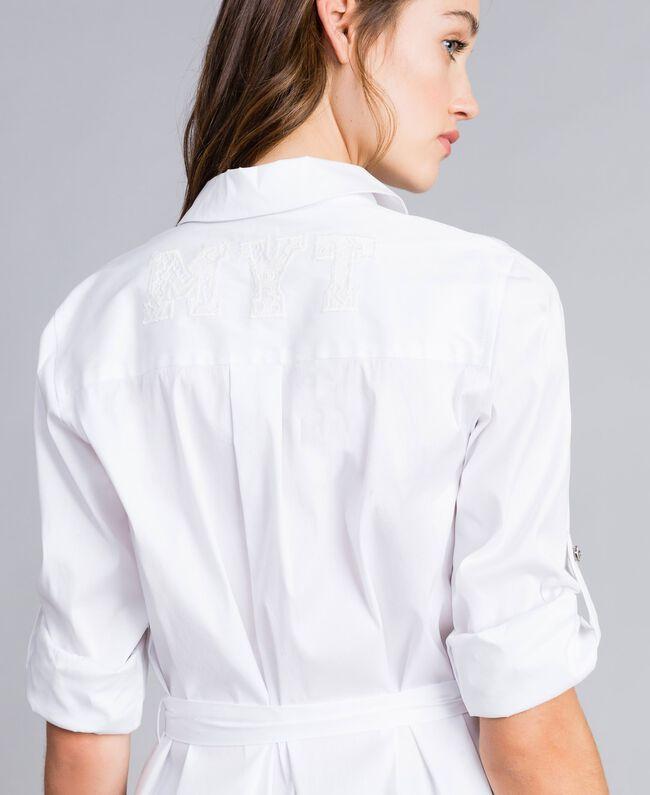 "Chemise longue en popeline stretch Blanc ""Ice"" Femme JA82JA-04"