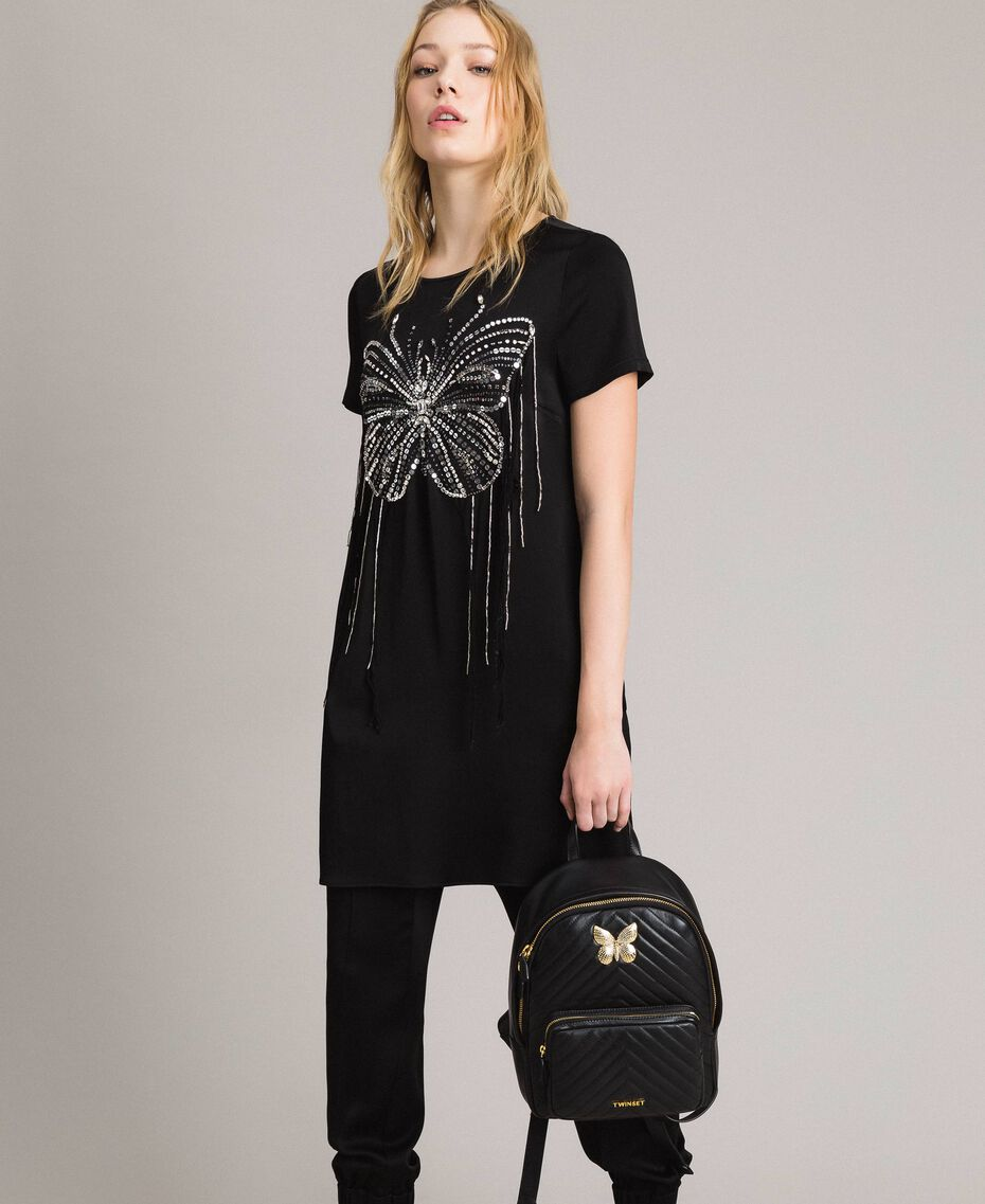 Butterfly embroidery and fringe tunic dress Black Woman 191TP269C-0T