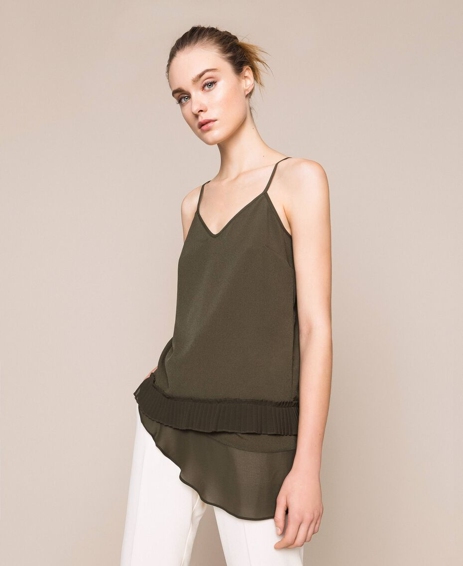 Crêpe de Chine top with pleated flounce Elm Green Woman 201ST2014-02