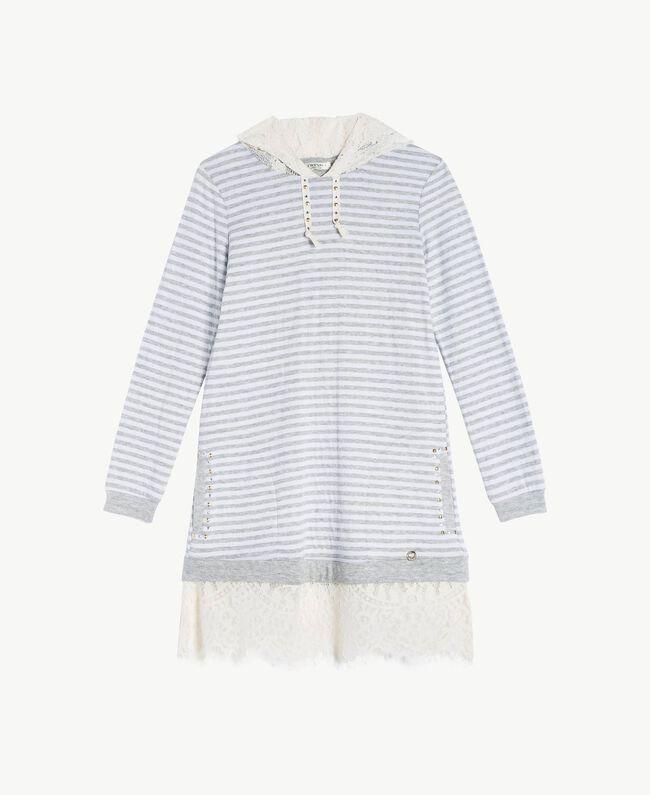 Maxi sweat-shirt dentelle Rayure Blanc Papyrus / Gris Mélangé / Chantilly Enfant GS82UA-01
