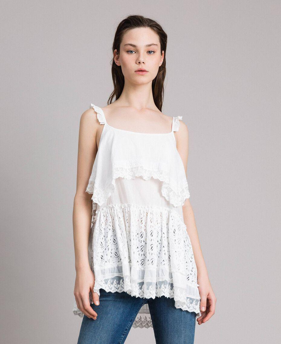 Топ с вышивкой и кружевом Off White женщина 191MT2271-02